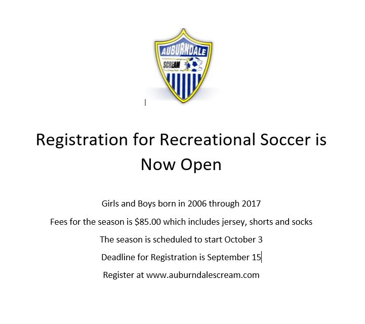 Fall 2020 Auburndale Recreational Soccer Registration Now Open